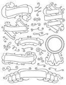 Vintage ručně kreslenou návrhové prvky devět