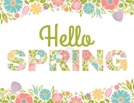 Illustration for Spring Letters with floral background. - Royalty Free Image