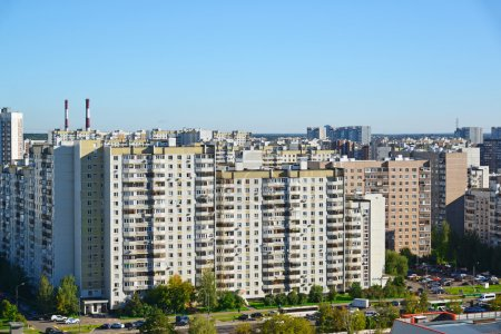 General top view of Zelenograd in Moscow, Russia