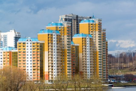 KRASNOGORSK, RUSSIA - APRIL 18,2015. Krasnogorsk is city and center of Krasnogorsky District in Moscow Oblast located on Moskva River. Area of residential development is about 2 million square feet