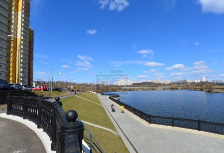 Krasnogorsk RUSSIA - 15.05.2015. The picturesque embankment on the Moscow River - place of mass walks in Moscow suburbs