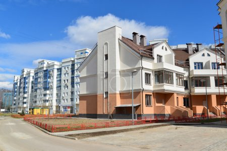 KRASNOGORSK, RUSSIA - APRIL 22,2015: Krasnogorsk is city and center of Krasnogorsky District in Moscow Oblast located on Moskva River. Area of residential development on about 2 million square feet