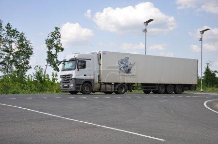 LIPETSK, RUSSIA - 29.05. 2015 White Renault semi-trailer truck at a  interurban road