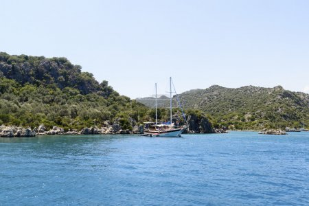 Kemer, Turkey - 06.20.2015. Boat with tourists near  coast of Turkey