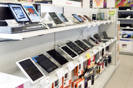 Moscow, Russia - February 02. 2016. Tablet PC in Eldorado is large chain stores selling electronics