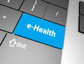 Text e-health button, 3d rendering