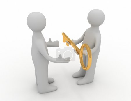 3d man giving golden key to another person...