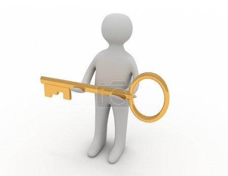 Photo pour 3D homme donnant la clef d'or à une autre personne - image libre de droit