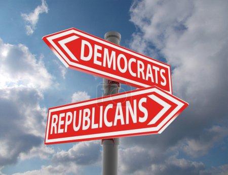 Photo pour Deux panneaux routiers - choix démocrates ou républicains - image libre de droit