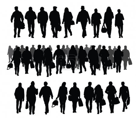 Illustration for Silhouettes of people walking on the street - Royalty Free Image