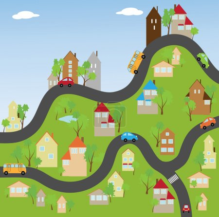 Illustration for The streets of a small town with houses and cars - Royalty Free Image