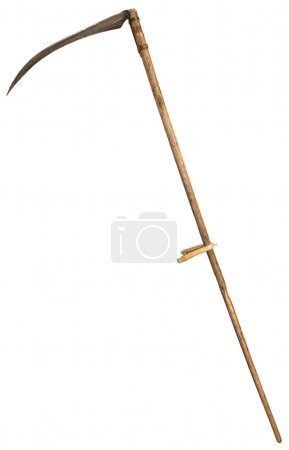 Old vintage scythe for grass isolated on white background. symbol of death.