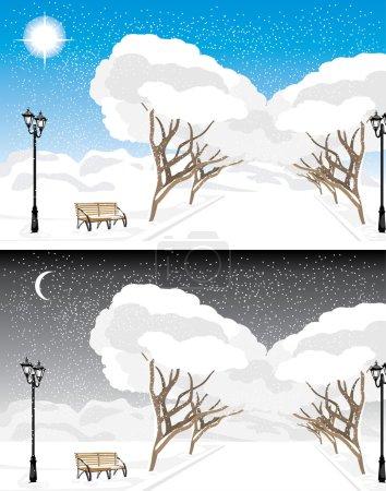 Parc d'hiver le soir et le jour