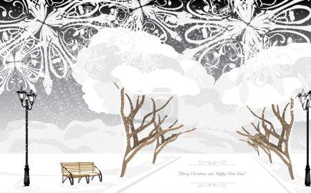 Parc d'hiver en soirée. Carte de Noël