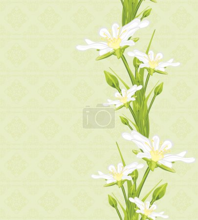 White spring flowers on the seamless ornamental background
