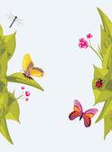 """Постер, картина, фотообои """"Насекомые и цветы. Фон для дизайна"""""""