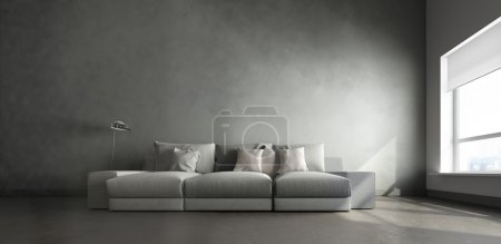 3d interior of big room with gray couch in the mid...