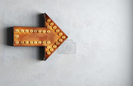 Photo for Retro bulbs vintage arrow - Royalty Free Image
