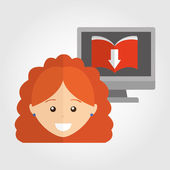 Osoba, která používá elektronická kniha design