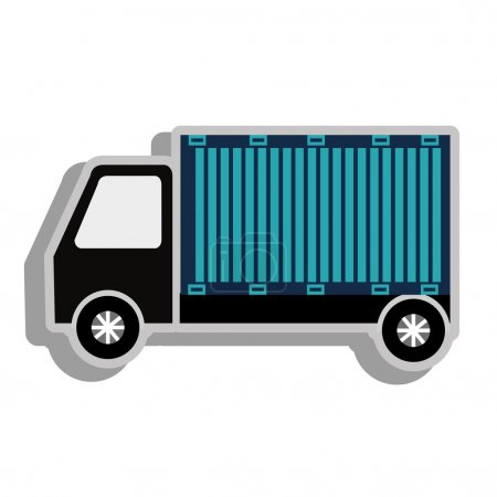 truck and container on side view,vector graphic