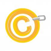 Szerzői jog elszigetelt lapos ikon tervezés
