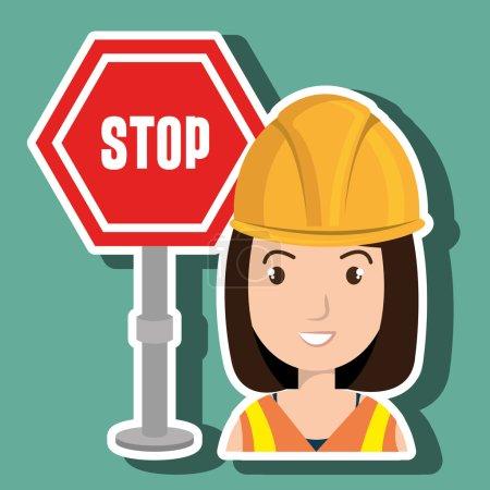 Woman construction tool work