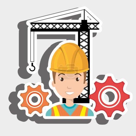 Man gears crane helmet