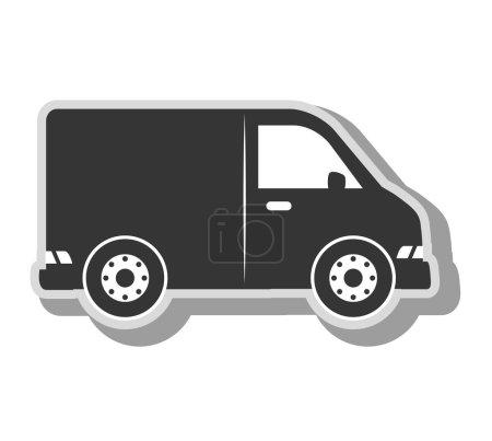 Illustration for Cargo van vehicle, isolated flat icon design - Royalty Free Image