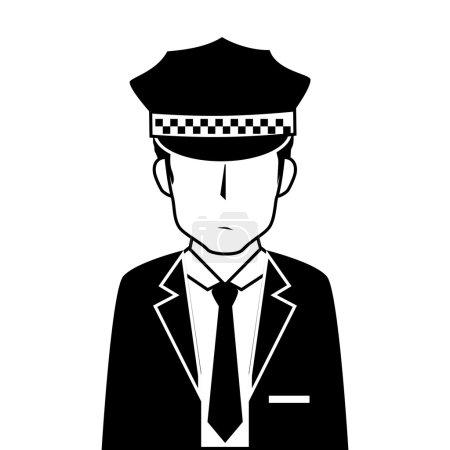 Illustration pour Homme chapeau costume cravate chauffeur service mâle gars vecteur illustration isolé - image libre de droit