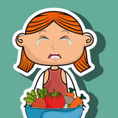 girl cry plate vegetables