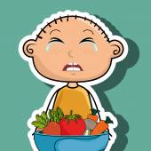 boy cry plate vegetables