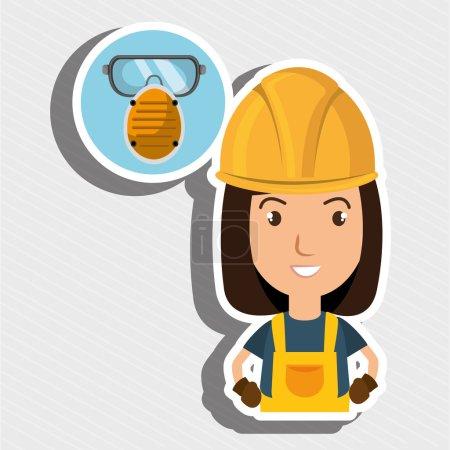 Woman worker mask smog vector illustration design ...