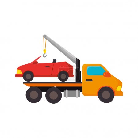 Illustration for Yellow car towing truck tow service vehicle vector illustration - Royalty Free Image