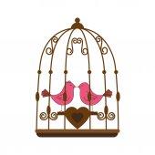 Valentýna růžové ptačí klec