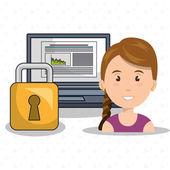 woman data base laptop