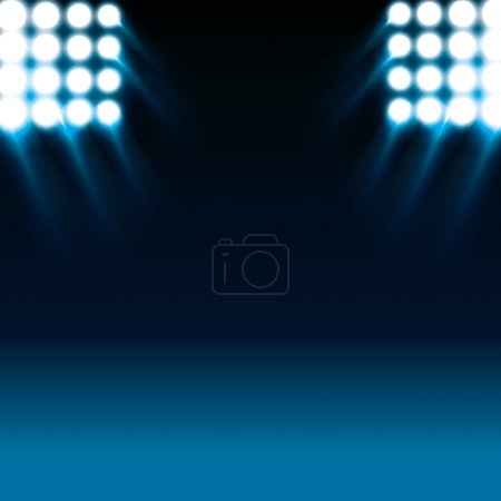 reflector lights and blue stage background