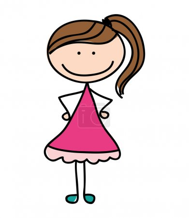 Illustration pour Petite fille mignon personnage vectoriel illustration conception - image libre de droit