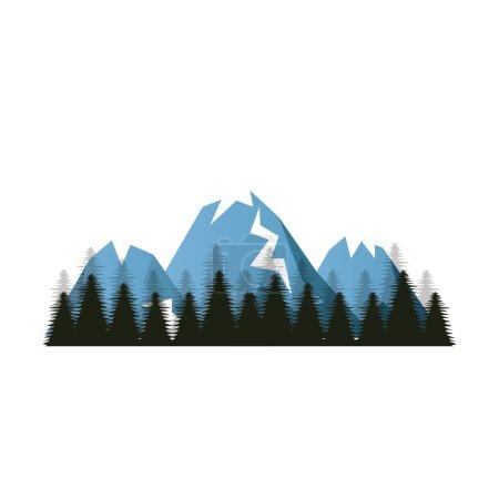 Illustration pour Neige bleue Alpes montagnes et collines. paysage forestier d'hiver. illustration vectorielle - image libre de droit
