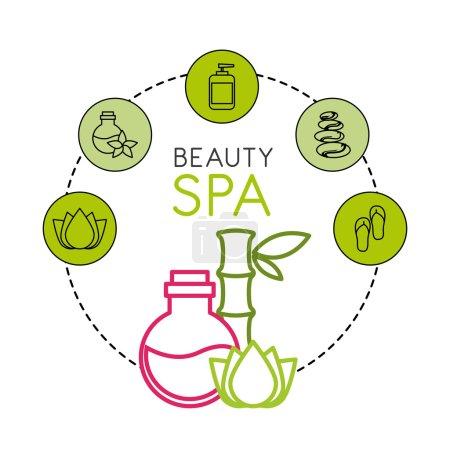 Illustration for Beauty spa set flat icons vector illustration design - Royalty Free Image