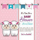 Card baby shower twins sheep design vector illustration eps 10