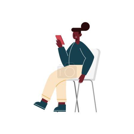 Illustration pour Afro femme en utilisant smartphone assis dans la chaise - image libre de droit