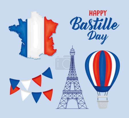 Illustration for Happy bastille day and french icon set - Royalty Free Image