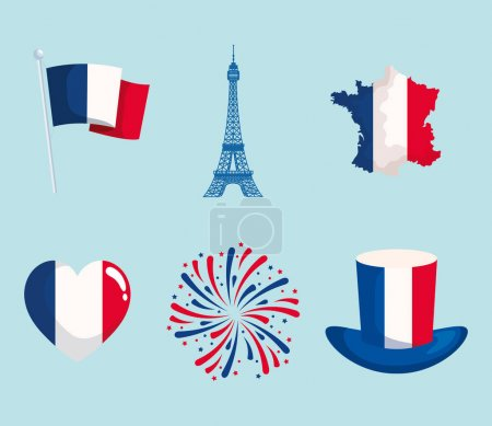 Illustration for Happy bastille day and french icon collection - Royalty Free Image