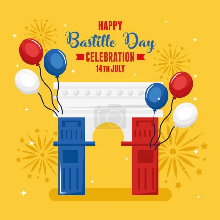 Illustration for Happy bastille day and french triumph arch - Royalty Free Image
