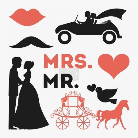 Illustration pour Conception de mariage sur fond blanc illustration vectorielle - image libre de droit