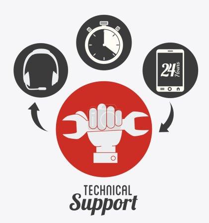 Illustration for Technical support design over white background, vector illustration. - Royalty Free Image