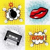 Comic pop art colorful design vector illustration