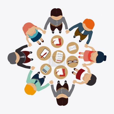Illustration for Human resources over white background design, vector illustration. - Royalty Free Image