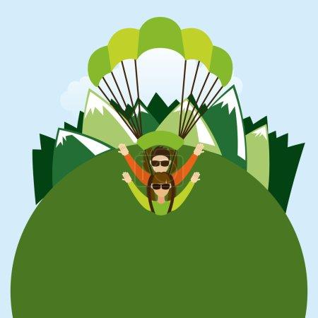 Parachute fly design, vector illustration eps10 gr...