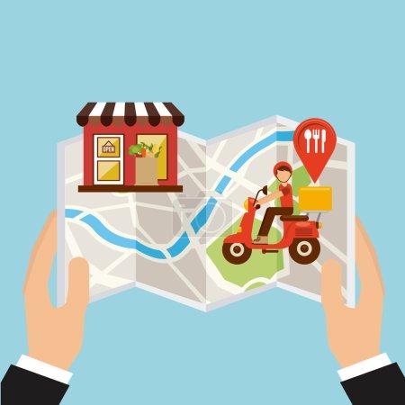 Illustration pour Conception de livraison de nourriture, illustration vectorielle illustration eps10 - image libre de droit